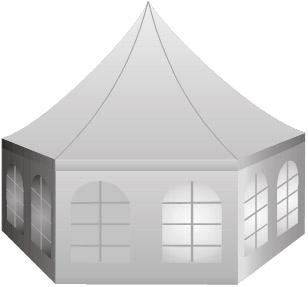 Partyzelt pavillion 6 Eck, hexagon 4x4m Aluminium PVC Pol Plan